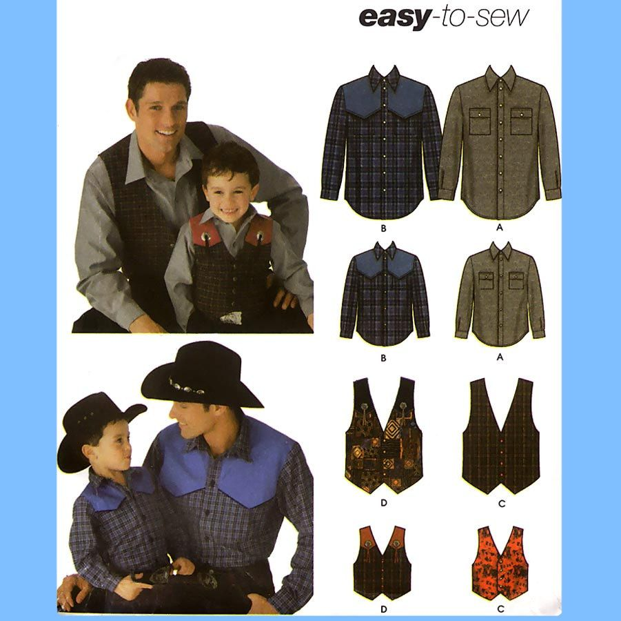 A S-M-L//S-M-L-XL Simplicity Sewing Pattern 4760 Boys and Men Shirts and Pants