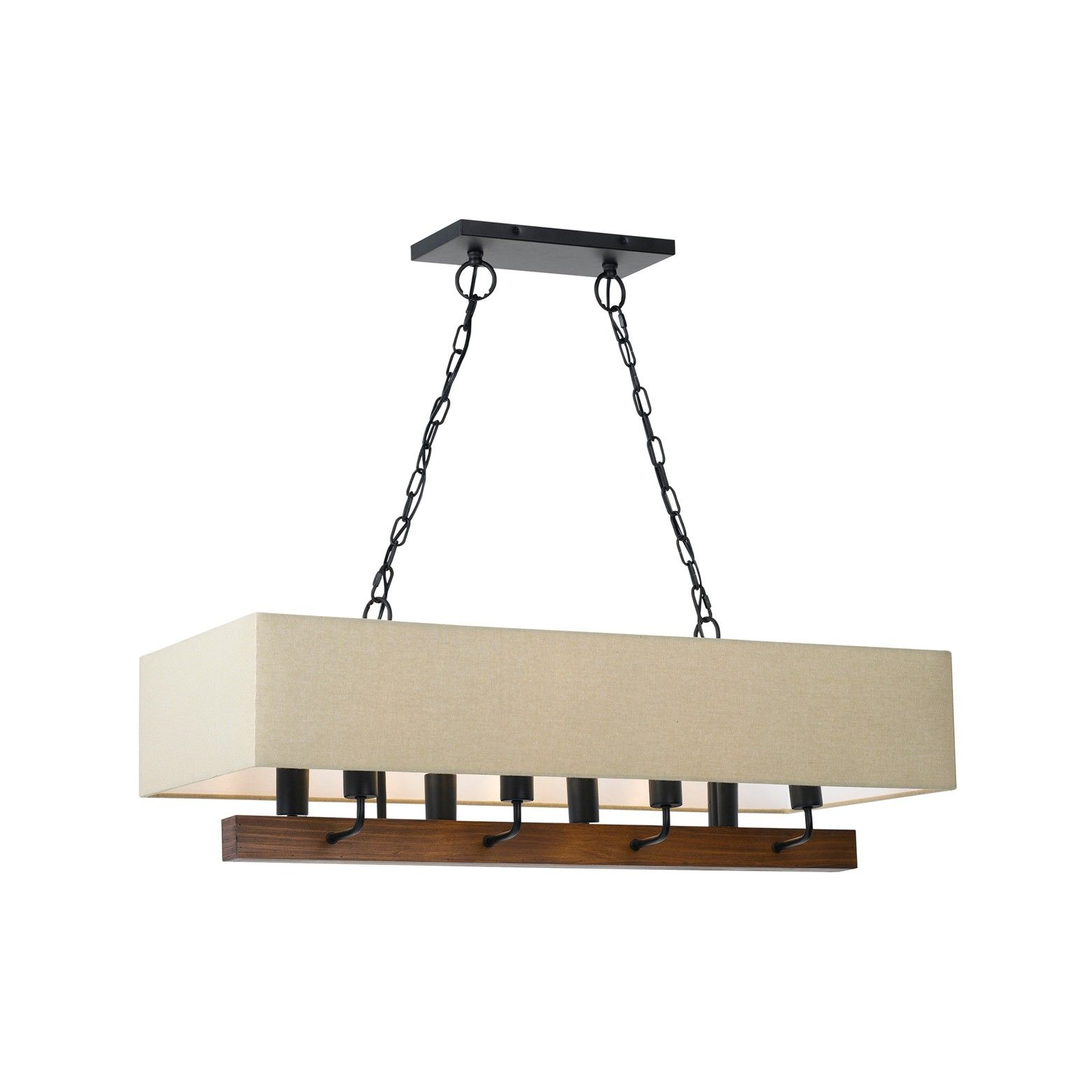 Burley Wood Metal Chandelier With Burlap Shade 60w X 8 Black