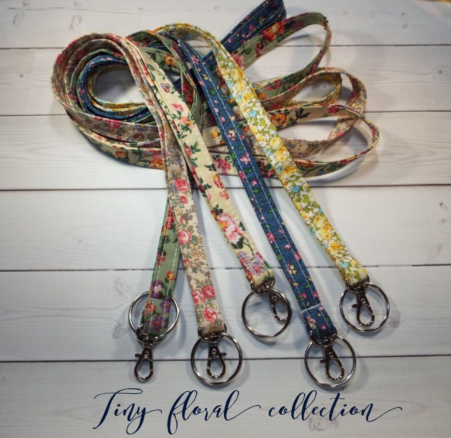 Skinny floral Lanyard ID Badge Holder - Christmas gifts for teachers, Christmas gifts for coworkers, gifts for her, stocking stuffer