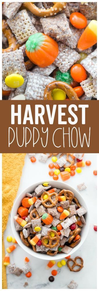 This Harvest Puppy chow is an easy fun fall treat It combines the classic flavors of puppy chow with some new ones rezepte selber machen mix mix bar mix bar wedding...