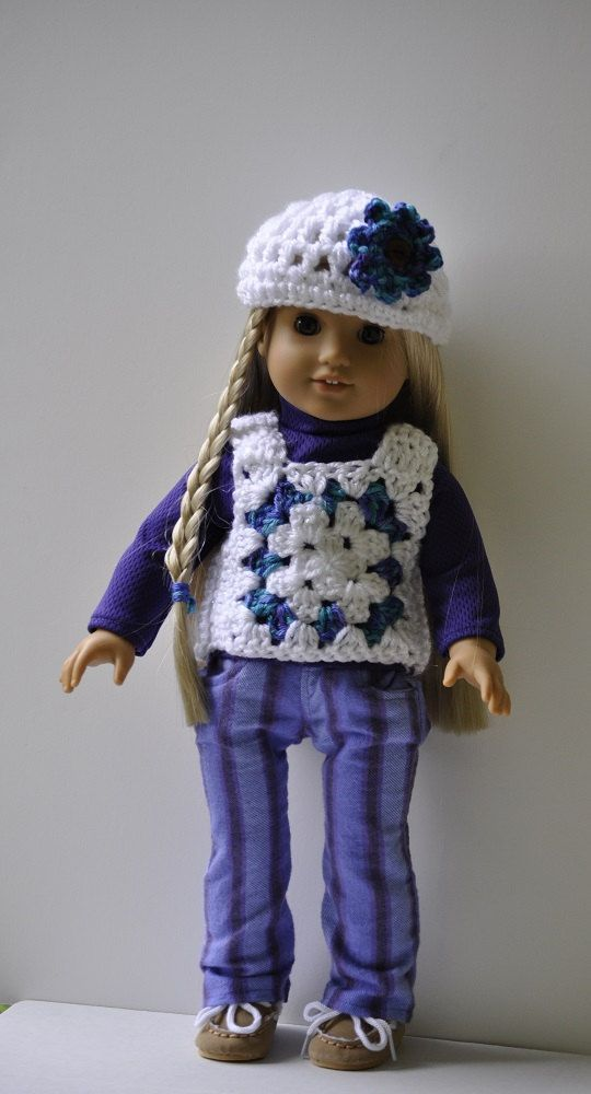 American Girl doll clothes Julie granny square vest, pants, top, hat ...