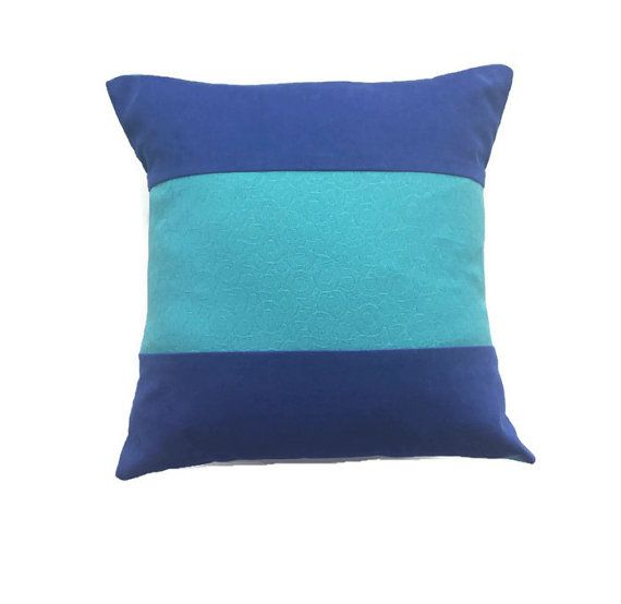 Royal Blue Pillow Cover With Turquoise Textured Cobalt