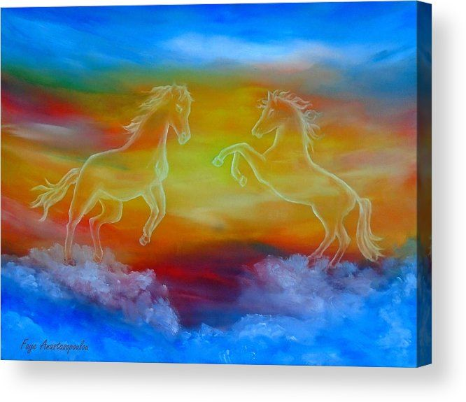 Canvas Print, for sale,horses,skyscape,scene,sky,clouds,sunset,wild ...
