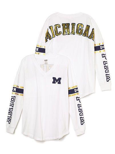 University Of Michigan Bling Varsity V Neck Tee Pink Michigan Apparel University Of Michigan Apparel Michigan State Clothes