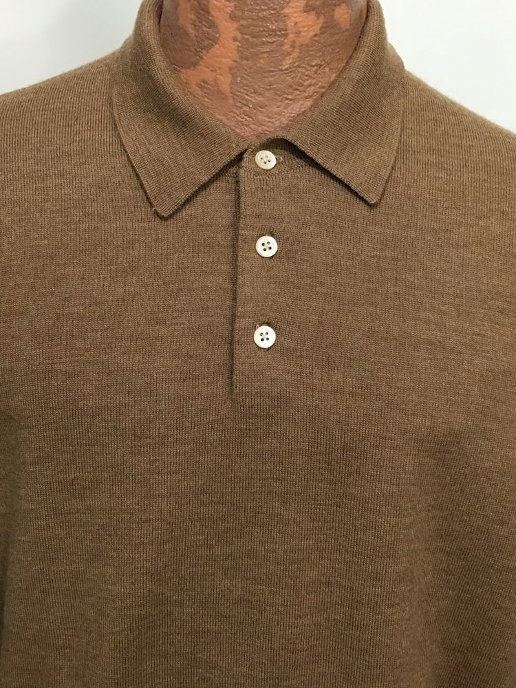 Brooks Brothers Tan Merino Wool 3 Button Collared Pullover