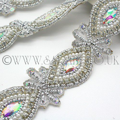 Silver Stone Pearl Crystal Trim Sarahi Co Uk Crystal Trim Bead Designs Beaded Embroidery