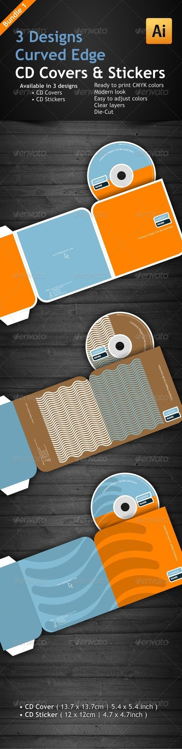 3 Curved Edge Designs for CD Covers & Stickers   Cd cover, Template ...