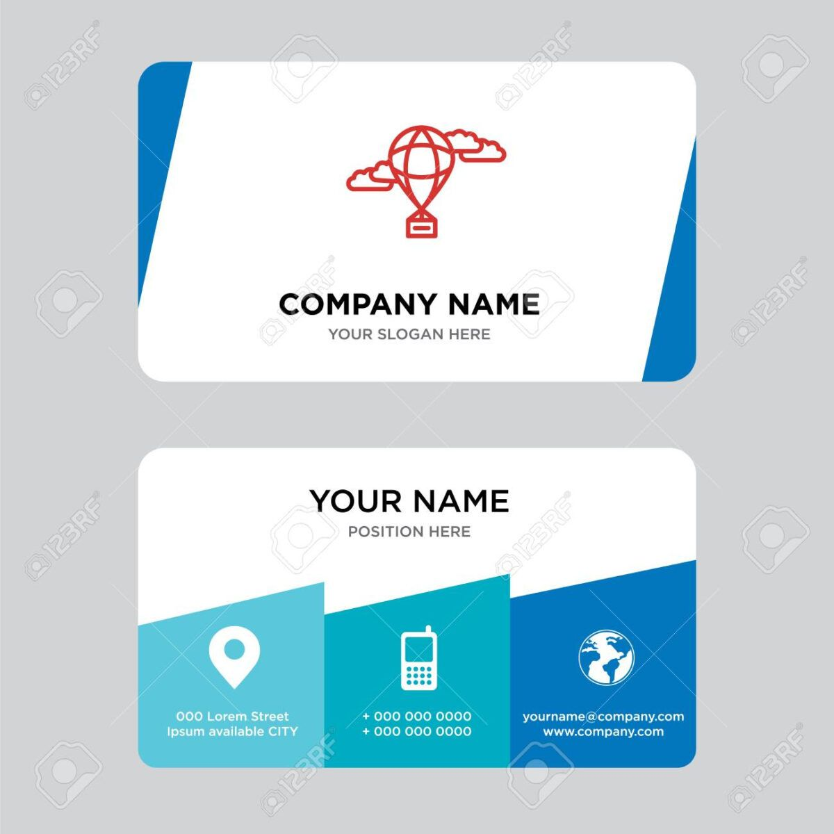 Hot Air Balloon Business Card Design Template Visiting For Your Company Moder Business Card Template Design Business Card Design Business Card Template Word