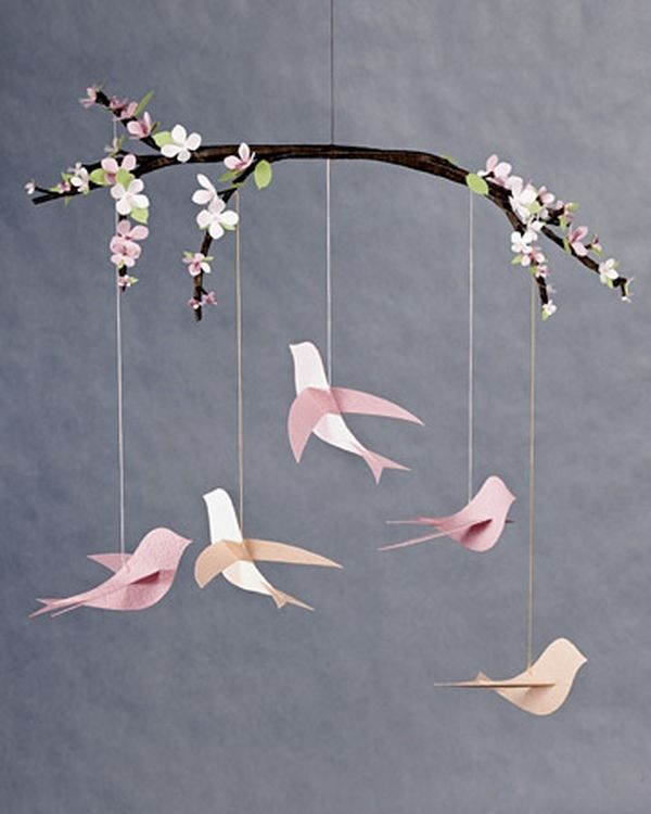 DIY Nursery Decorating Ideas Spring Theme Decor Birds Tree Branch