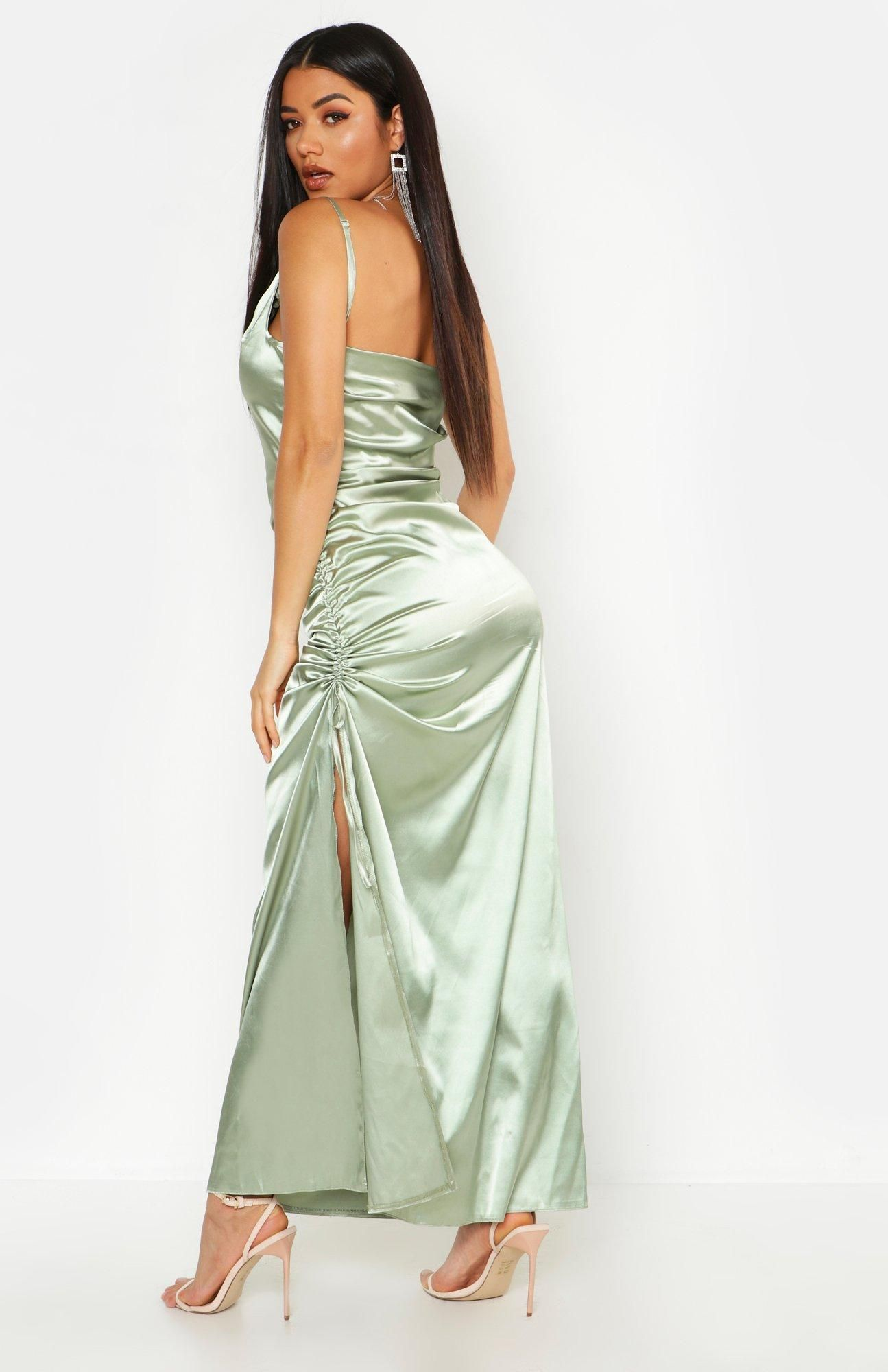 Satin cowl neck ruched maxi dress boohoo in 2020