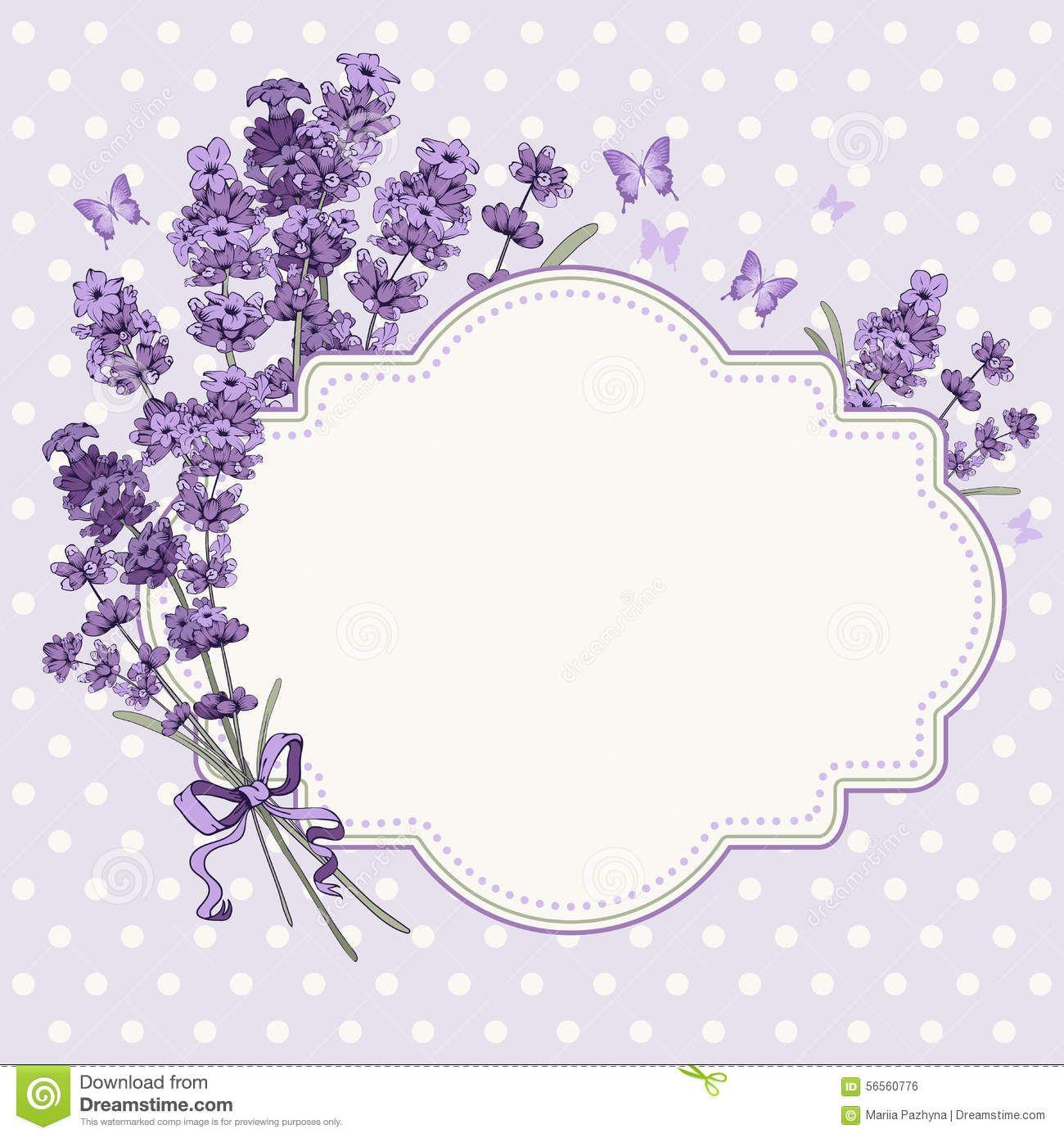 Lavender Card Cute Vintage Greeting Invitation Hand Drawn