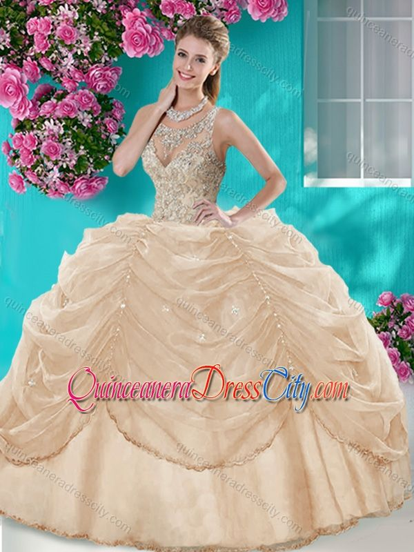 df4c55e1677 Classical Big Puffy Champagne Discount Quinceanera Dress with ...