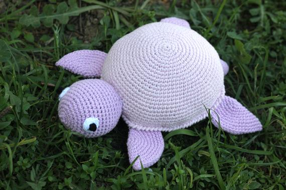 This cute crochet turtle is waiting for its owner. You can easily give this amigurumi turtle to your kid as a gift or you can make happy someone who you really care about by giving it. I can make it any color you want. It will be ready in 5-7 days. Just get in touch with me.   Measurements: 20x14 cm #crochetturtles
