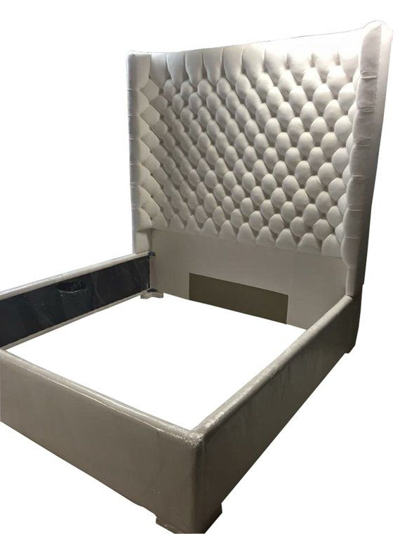 White Wingback Tufted Bed King Size Queen Size Full Size Wing Back