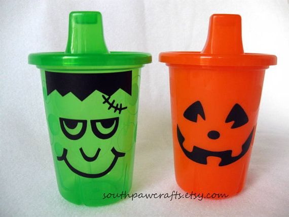 halloween sippy cups pumpkin and frankenstein by southpawcrafts 600