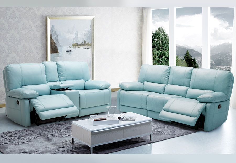 Kuka Maui Light Blue Power Reclining Sofa And Reclining Console