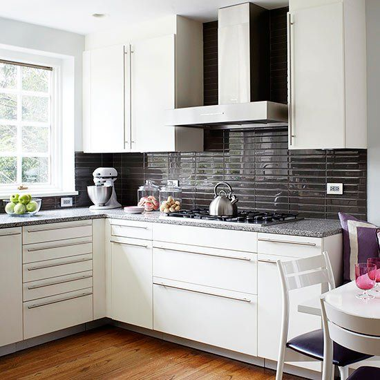 White Kitchen Cabinets Brown Tile Floor: Kitchen Backsplash Tiles Ideas White Cabinets Dark Brown Subway Tiles