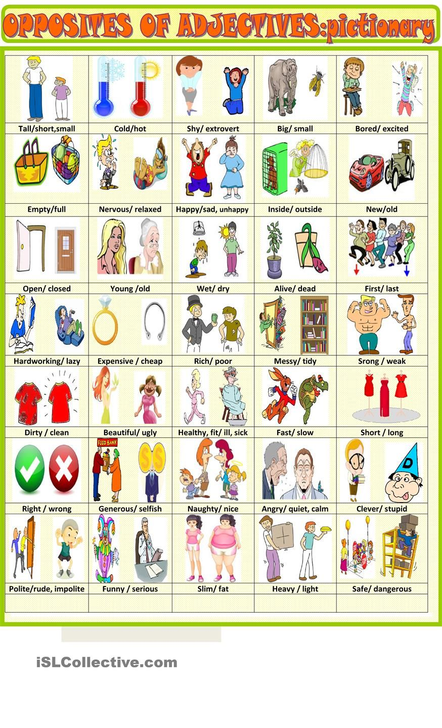 Opposites of adjectives :pictionary | Angol | Pinterest | Worksheets ...
