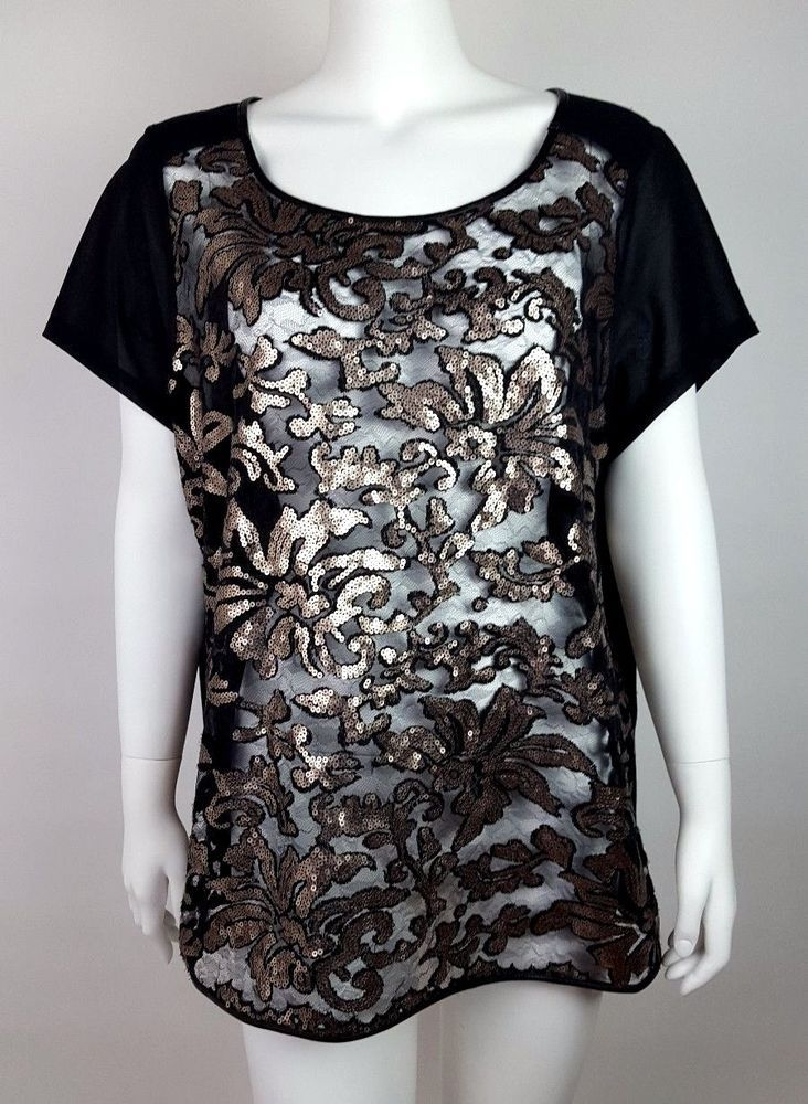 594f38f1876b4 LANE BRYANT Black Gold Sequin Sheer Short Sleeve Top Shirt Womens Size 18 20
