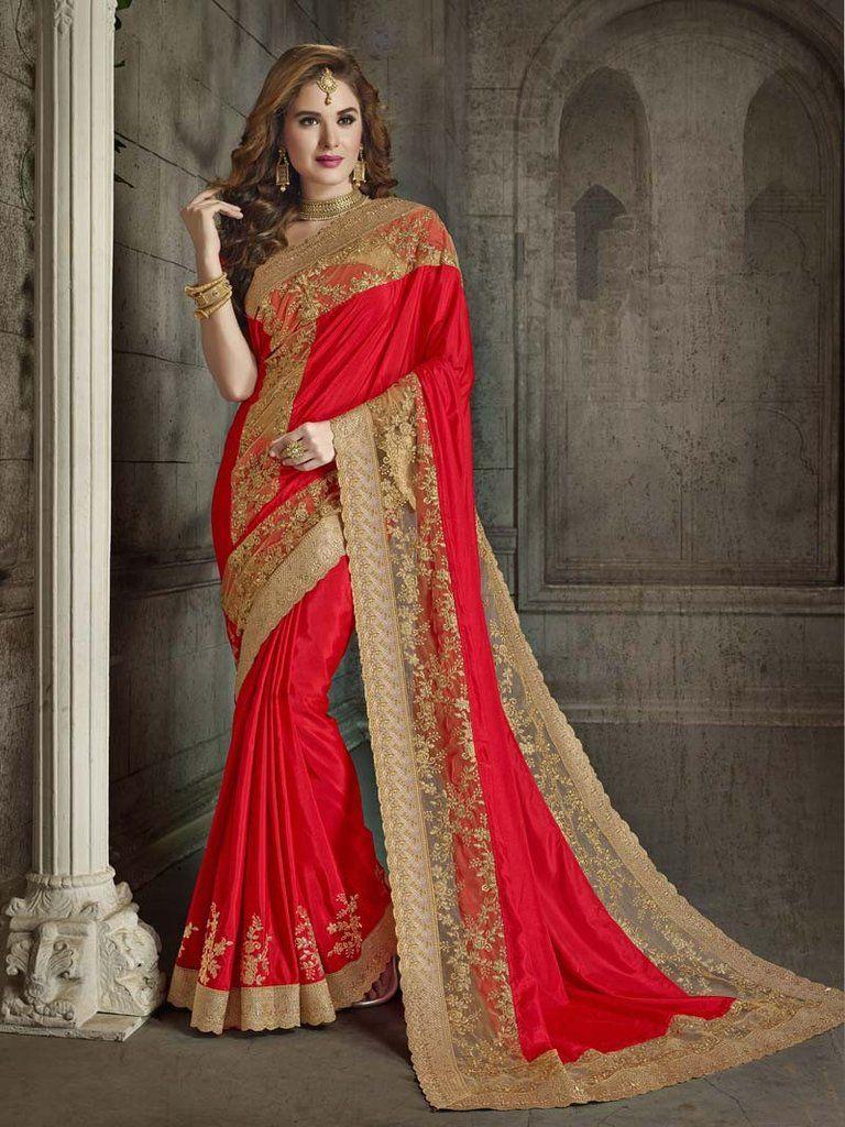 Red colored silk and net saree net saree saree and saris