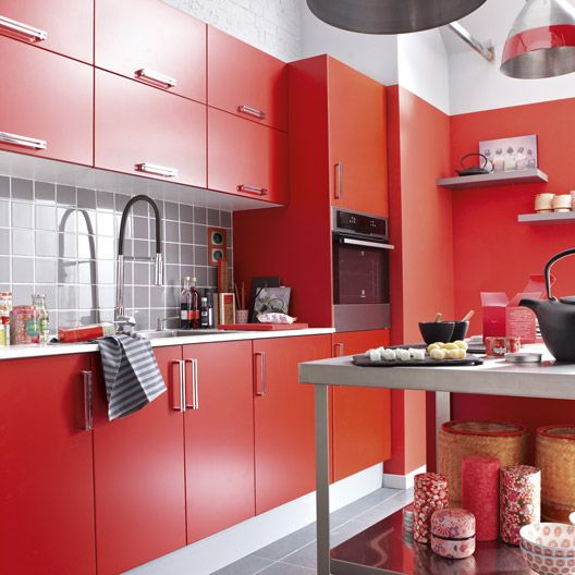 Meuble de cuisine delinia composition type delice rouge for Brico jardin challans catalogue