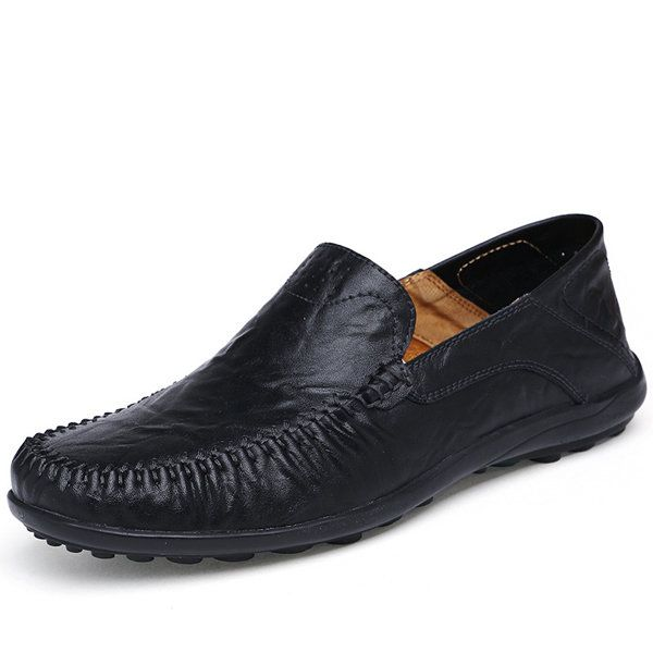 dedbaa54914 Leather · Large Size Men Stitching Slip On Loafers Flat Casual Leather Shoes