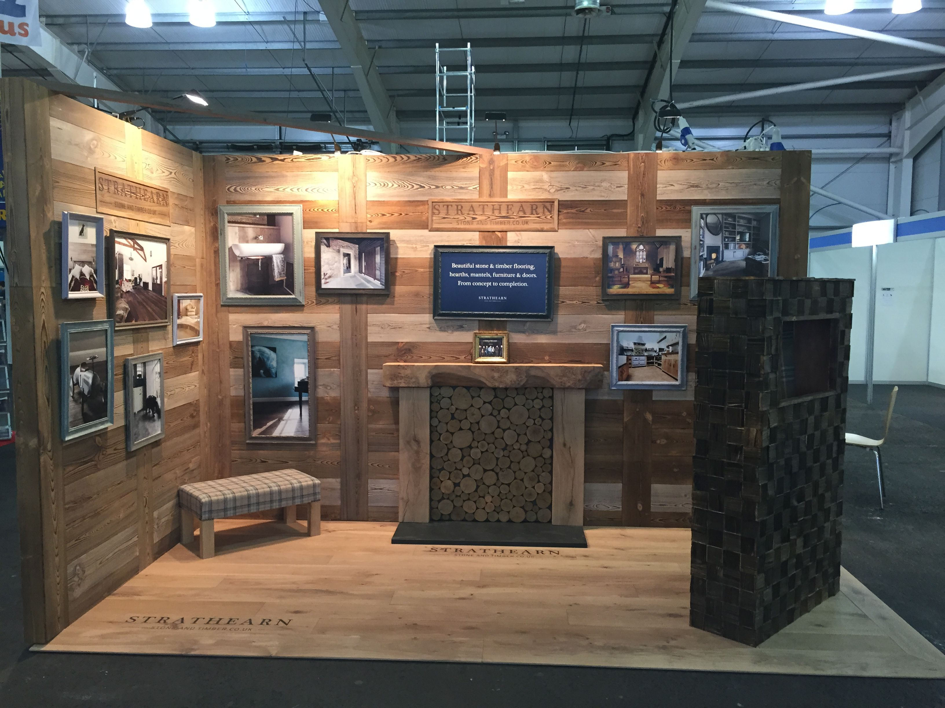 Exhibition Stand Wall Panels : Laser engraved wooden floorboards and panelling for