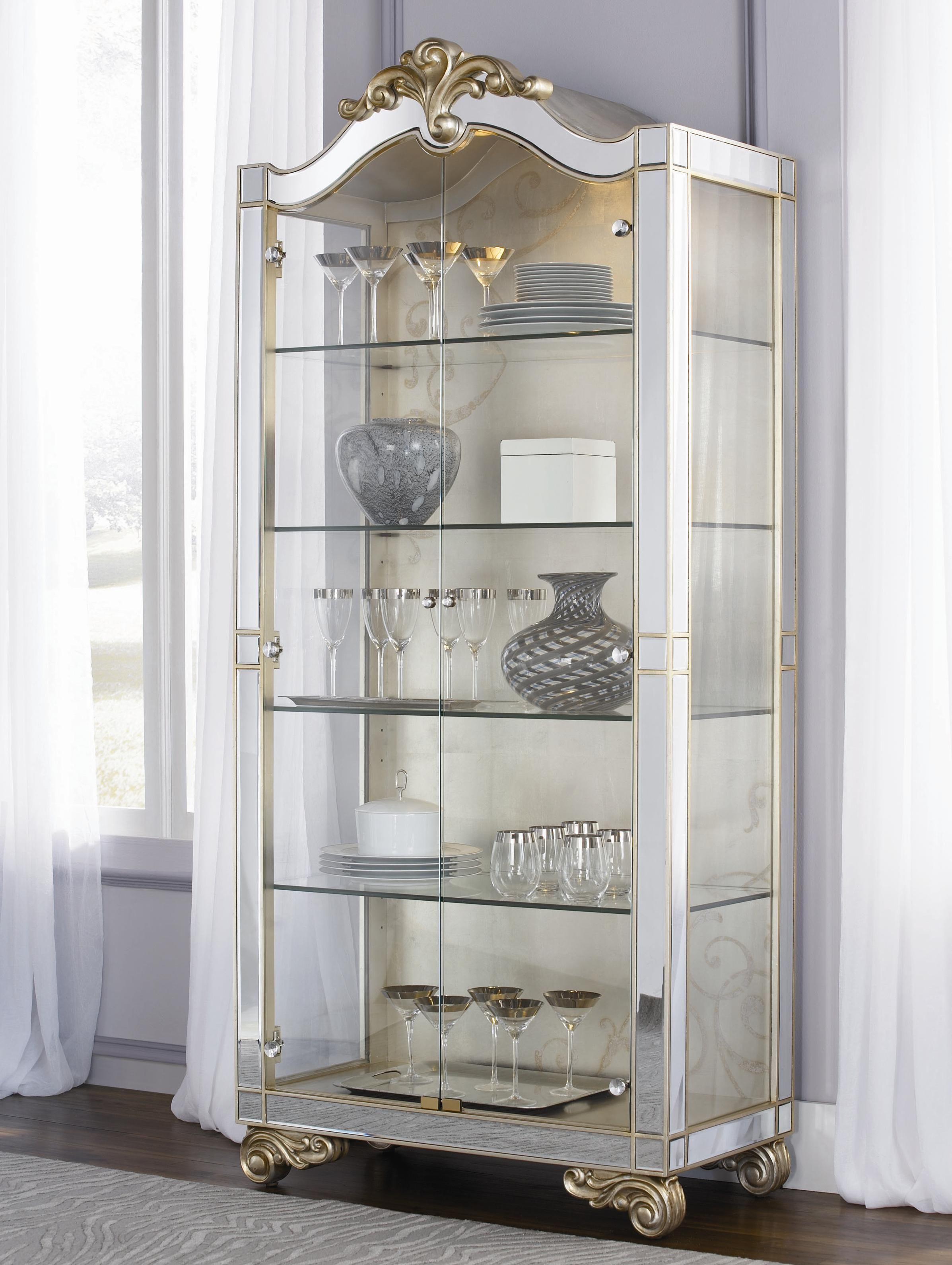 Jessica McClintock Couture Two Door Silver Leaf Curio