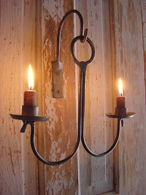 Rustic Sconce Candle Holder Candle Wall Hanging Blacksmith Etsy In 2021 Hanging Candle Holder Primitive Lighting Wall Candles