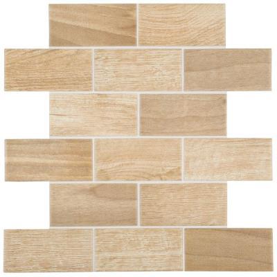 Daltile Parkwood Beige 12 in. x 12 in. x 6 mm Ceramic Brick-Joint Mosaic  Tile