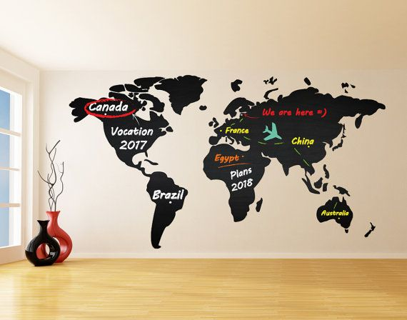 Chalkboard vinyl wall decal world map by deliciousdeals on etsy chalkboard vinyl wall decal world map by deliciousdeals on etsy gumiabroncs Gallery