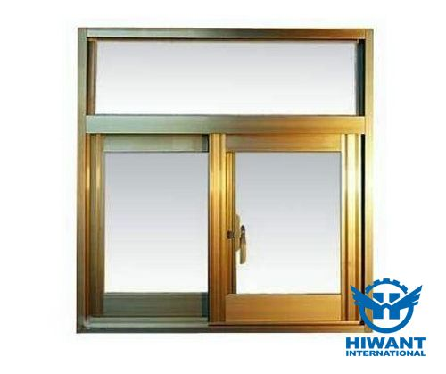 Nature color and golden color aluminium profile windows and doors from Hiwant.
