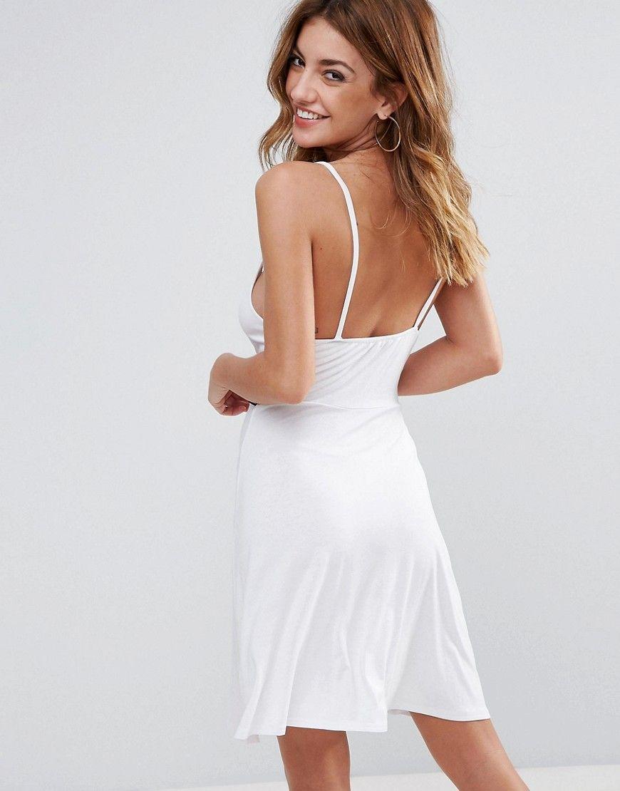 f505f2361ce Boohoo Twist Front Strappy Beach Dress - White
