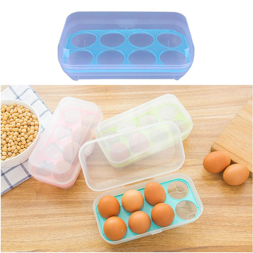 Single Layer Refrigerator Food 8 Eggs Airtight Storage Container Plastic Egg Container Eggs Carrier Hold Food Storage Containers Airtight Storage Egg Container