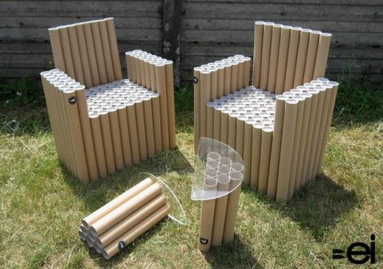Fantubes Is A Quirky Table Set Built From Cardboard Poster Tubes Pvc Furniture Cardboard Chair Cardboard Furniture