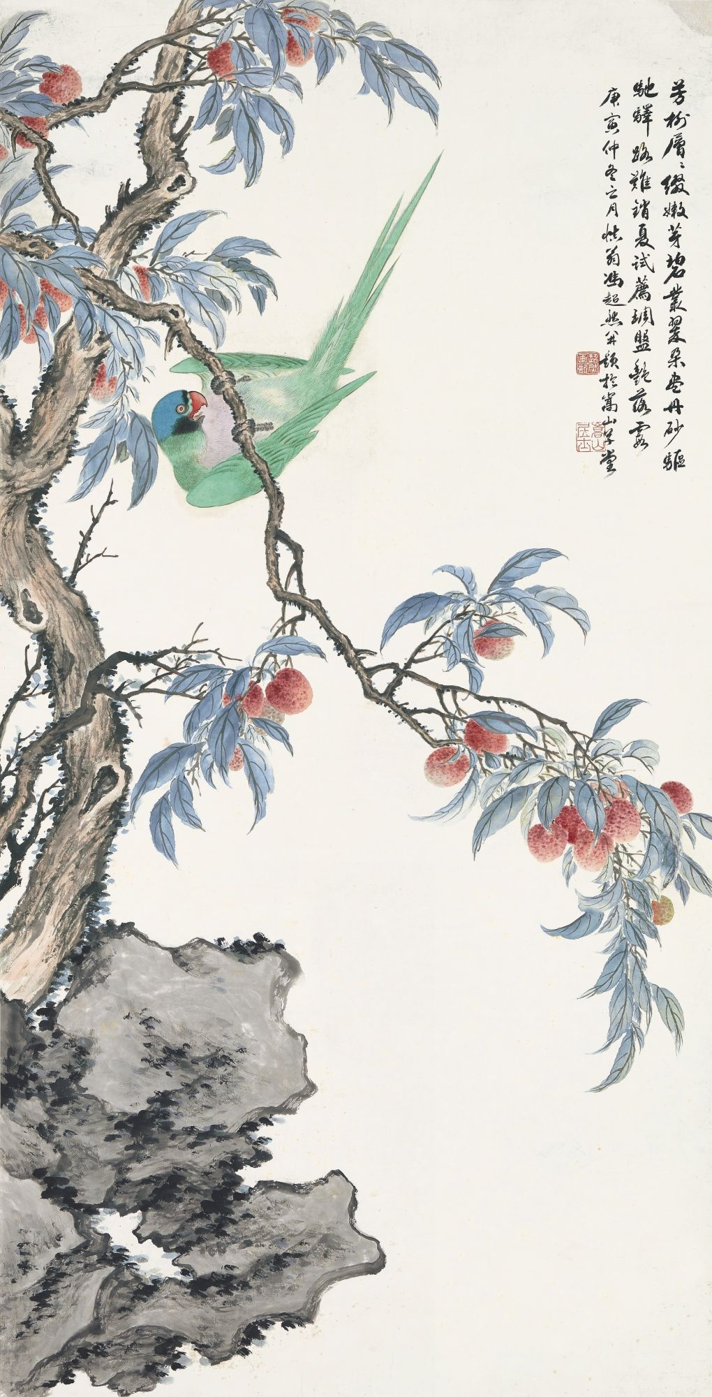 Feng Chaoran 1882 1954 Parrot On The Lychee Tree Signed Feng