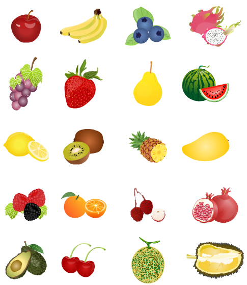 Fruit Clipart Including Apple Banana Blueberry Grape Strawberry Pear Water Melon Lemon Pineapple Mango Durian Cher Food Clips Clip Art Fruit Clipart
