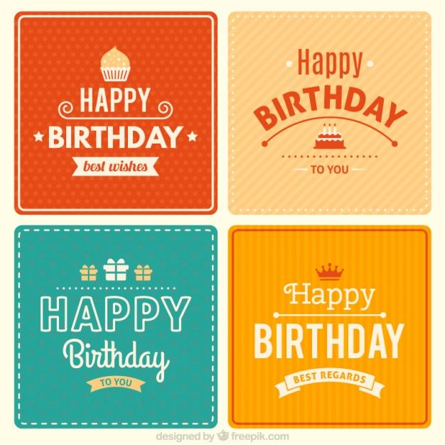 Cute Birthday Cards Collection Free Vector 3