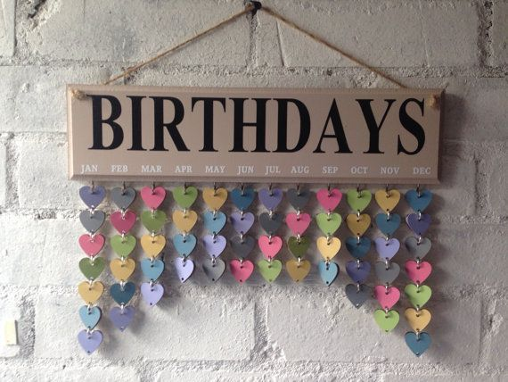 Family Celebrations, Birthday Organizer. Wooden board, Calendar, Fab gift. Home decor. Gift ideas,