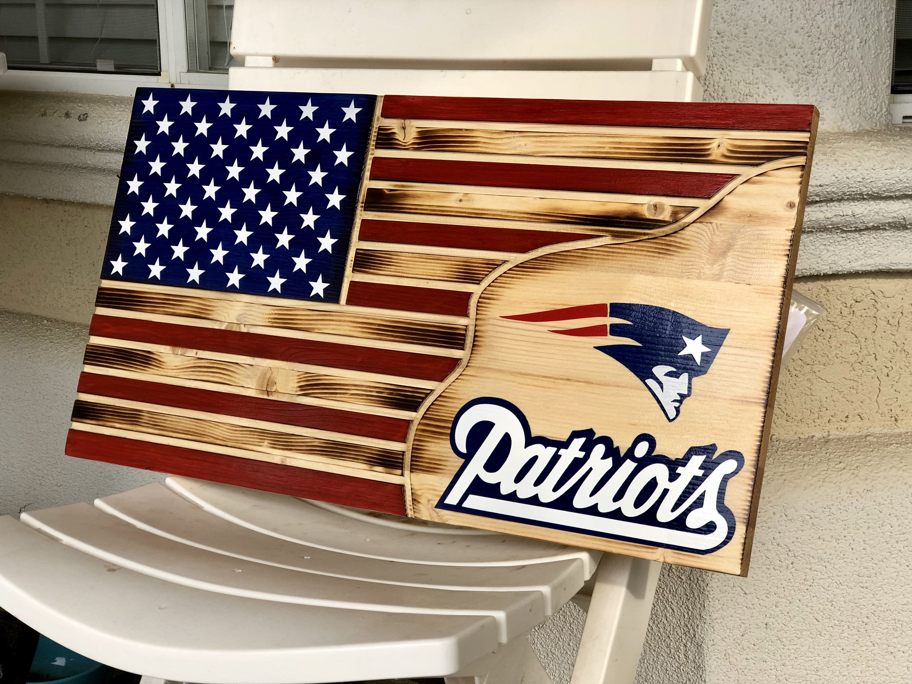 Excited To Share This Item From My Etsy Shop American Flag New England Patriots Football Flag Wood Flag Wood Flag American Flag Wood Wooden Flag