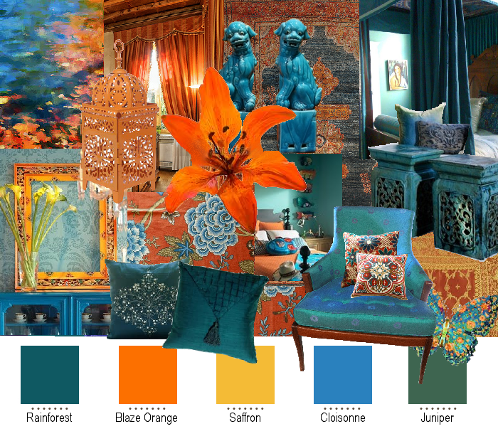 Teal And Orange Color Palette All My Favs Rain Forest Blazing Saffron Cloisonne Blue Juniper