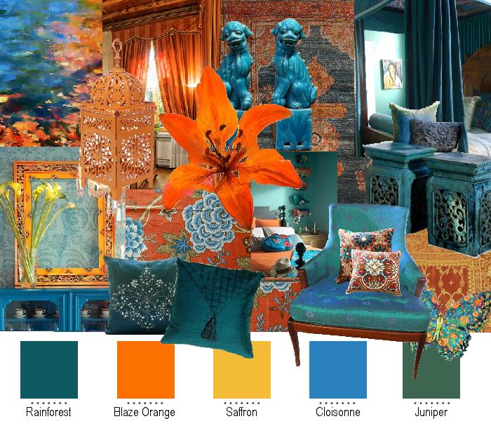 Teal And Orange Color Palette All My Favs Rain Forest Blazing Orange Saffron Cloisonne