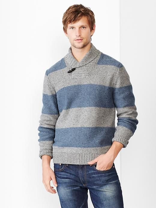 Lambswool rugby stripe shawl sweater