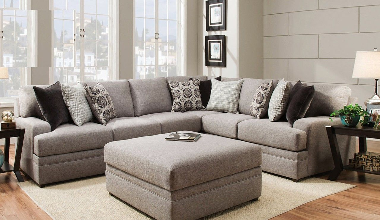 2 Pc Dublin Briar Textured Fabric Upholstered Sectional Sofa In
