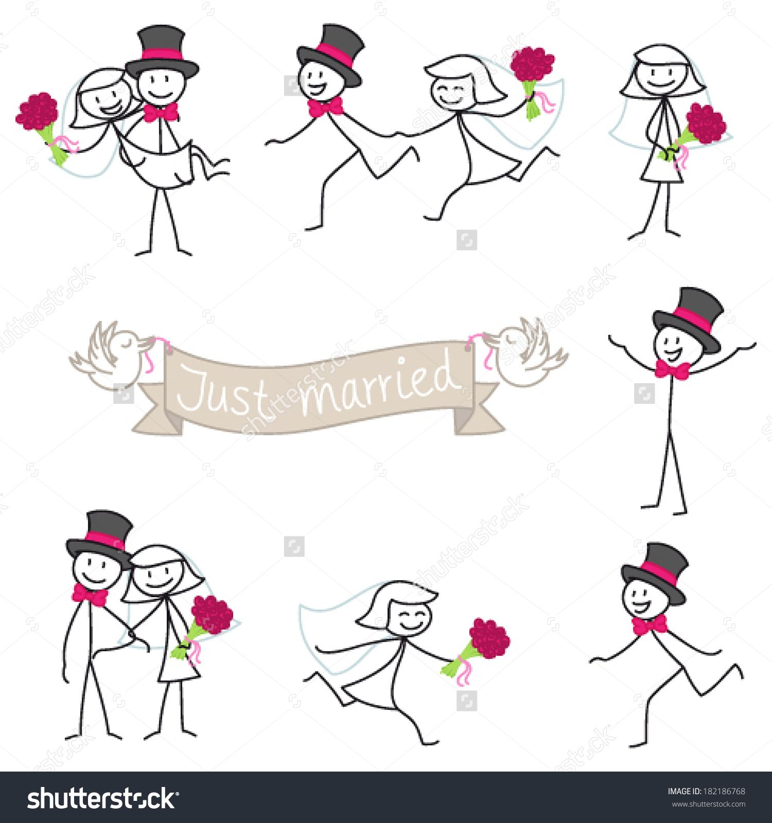 Awesome wedding stick figures clip art | Certificate templates ...