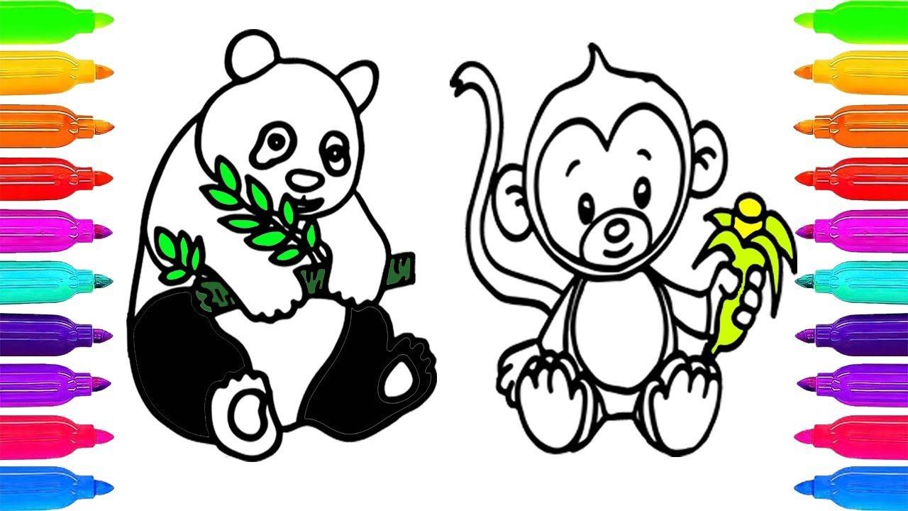 Como Dibujar y Colorear Un Oso y Mono de Arco Iris - Dibujos Para ...