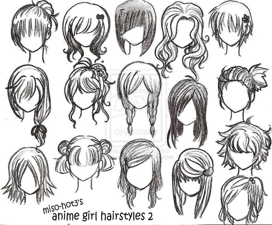 Drawing anime girl hairstyles