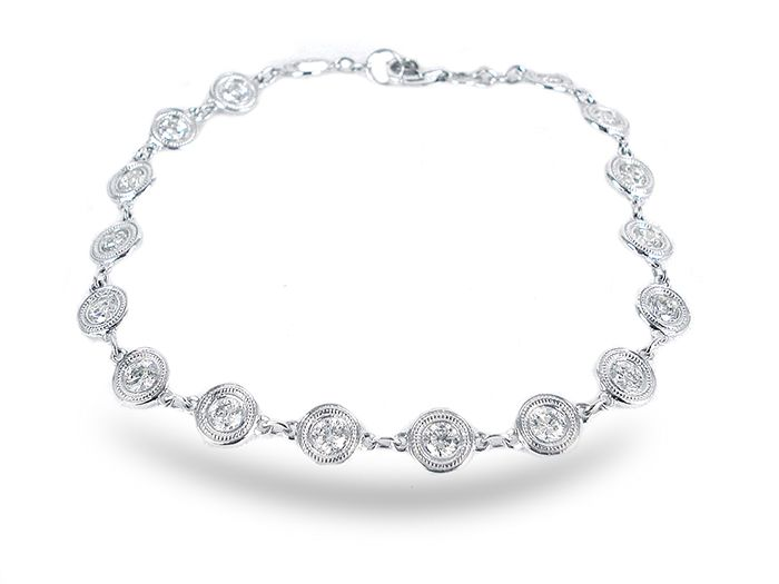 Alson Special Value 14K White Gold Diamond By The Yard Bracelet, Featuring Round Diamonds =2.00cts Total Weight