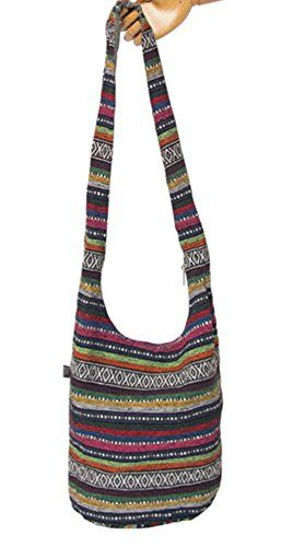 Fansela(TM) Striped Vintage Retro Denim Hobo Bucket Bag Multicolor Purple