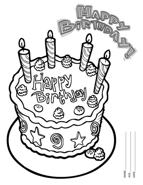 Happy Birthday Cake With Four Candles Coloring Page Color Luna Happy Birthday Coloring Pages Birthday Coloring Pages Happy Birthday Cakes